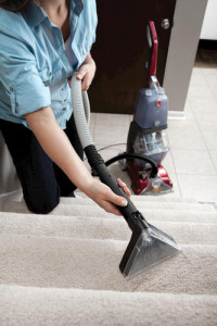 Hoover Power Scrub cleaning stairs